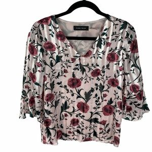 Ivanka Trump Floral Blouse Size XS Pink Floral print 3/4 Bell Sleeves